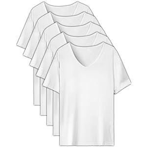 EASY-MODE-T インナーシャツ メンズ 肌着 5枚組 半袖 Vネック 防菌防臭 白 クセになる肌触り (XL(175㎝-185㎝))