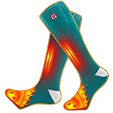 GLOBAL VASION Heated Socks,Unisex Cold Weather Electric Heated Socks,Socks Feet Warmers for Chronically Cold Feet Skiing,Camping,Hiking,Snowboating (Green)