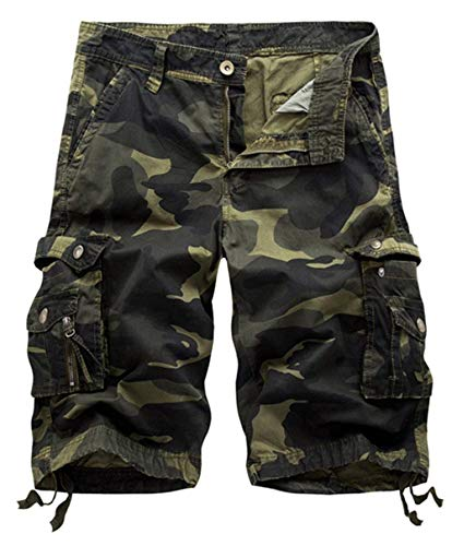 Unique senza Pantaloncini Dunkelgruen uomo Pocket maniche Pocket da Work FR6P6Wzqw