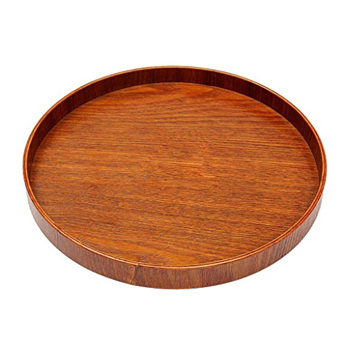Round Wooden Plate Breakfast Food Snack Serving Trays Salad Bowl Platter - Brown, M