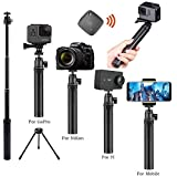 Selfie Stick and Tripod Bluetooth Remote Compatible GoPro Hero/iPhone Series/SamsungS8 S9Plus/SONY 4K/SLR/YI Action/RIOCH/DJI OSMO Mobile and More, Telescoping Portable Aluminum Alloy Monopod Extender