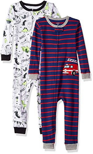 Carter's Boys' 2-Pack Cotton Footless Pajamas, Firetruck/Dino, 2T