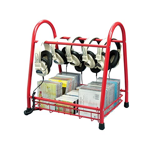 School Specialty TA-7275R2 Metal Audio Storage Rack, Shelf and Headset Rack, 19'' Height, 13.5'' Width, 17.5'' Length, Red by School Specialty