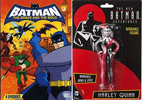 Adventures Batman Harley Quinn Brave Bold V2 DVD Animated Episodes Day Dark Knight bundle with Bendable Toy Figure (Batman The Animated Series Episodes With Harley Quinn)