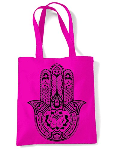 Shopping Hot Print Hamsa Large Shoulder Of Bag Pink Tote Fatima Hand Tattoo Tribal zpR4wHq