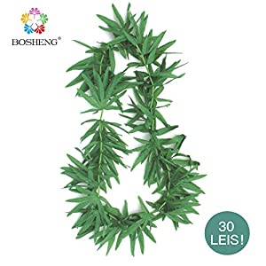 BOSHENG Green Artificial Fern Leaf Tropical Lei Necklaces,Pack of 30 38