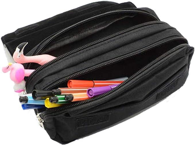 Estuche escolar para niños con compartimento, con 2 cremalleras y cierre de velcro, para artículos de escritorio, color 05: Amazon.es: Oficina y papelería