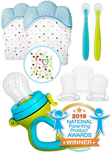 Teething Mittens for Babies with Baby Food Feeder Pacifier | Teether Set Perfect to Soothe Tender Gums | Fruit Feeder Pacifiers Safe Way to Introduce Solid Foods | Ideal Teething & First Baby Feeding