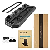 MOFIR Playstation 4, PS4 Slim Vertical Stand with Cooling Fans-2 Hub,1 USB Port for Charging Dualshock 4 Controllers , Transfer Data in High Speed - Space Saving Charging Station - Anti Slip Bottom