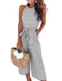 c22f222fb741 Assivia Womens Sexy Striped Spaghetti Strap Backless Wide Leg Jumpsuit  Rompers