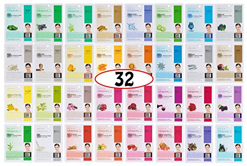 A+B Dermal Korea Collagen Essence Full Face Facial Mask Sheet 32 Full Color SET