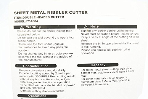 Antrader Double Head Sheet Nibbler Metal Cutter Hole Saw Drill Attachment by Hold Tools (Image #1)