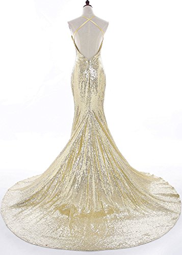 Prom V Women's DYS Sequins Straps Dress Neck Spaghetti Mermaid Gowns Brown Backless 0tgqxg