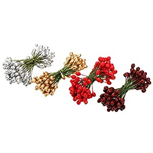BBTO 400 Pieces Multicolor Artificial Holly Berries Christmas Fake Fruit Berries on 200 Pieces Wire Stems Christmas Tree Decorations Wreath Craft Use Wedding Party Favor 2