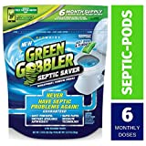 Green Gobbler SEPTIC SAVER Bacteria Enzyme Pacs - 6 Month Septic Tank Supply (FREE Green Gobbler REMINDER APP) 7.8 oz Total