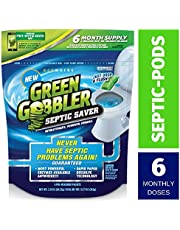 Green Gobbler Septic Saver Bacteria Enzyme Pacs - 6 Month Septic Tank Supply (Free Reminder APP) 7.8 oz Total