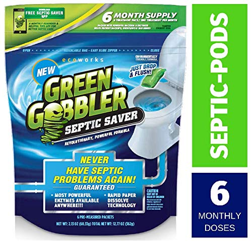 Green Gobbler SEPTIC SAVER Bacteria Enzyme Pacs - 6 Month Septic Tank Supply (FREE Green Gobbler REMINDER APP) 7.8 oz - Aid Sewers