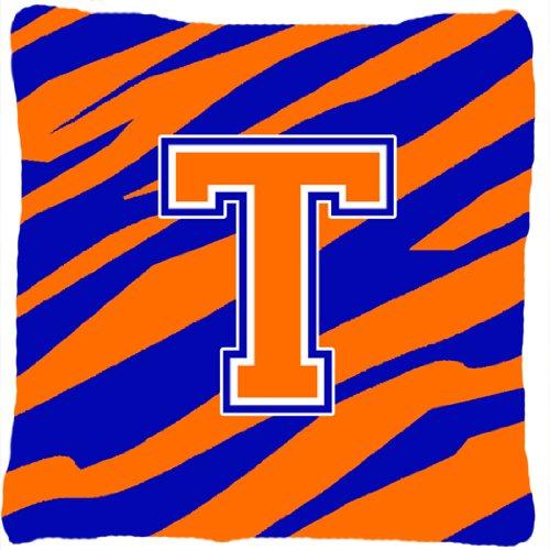 UPC 705332248136, Caroline's Treasures CJ1023-TPW1414 Monogram Initial T Tiger Stripe Blue Orange Pillow, Large, Multicolor
