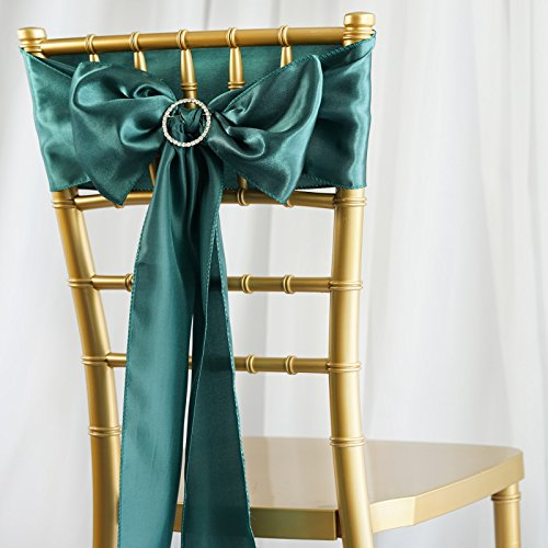 BalsaCircle 50 Hunter Green Satin Chair Sashes Bows Ties for Wedding Decorations Party Supplies Events Chair Covers Decor Banquet -