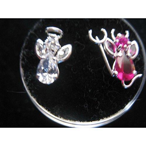 Piercing Screwback DEVIL OR ANGEL Earrings in Silver Tone -