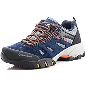 QOMOLANGMA Women's Suede Slip-Resistant Hiking Shoes Walking Sneakers Outdoor Trail Trekking Shoes