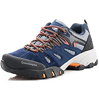 QOMOLANGMA Women's Suede Hiking Shoes Walking Sneakers Outdoor Trail Trekking Shoes