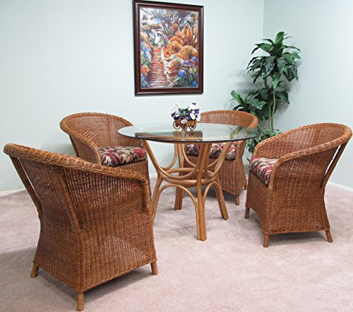 Premium Rattan & Wicker Dining Furniture Carmel 5PC Set Delivered Assembled