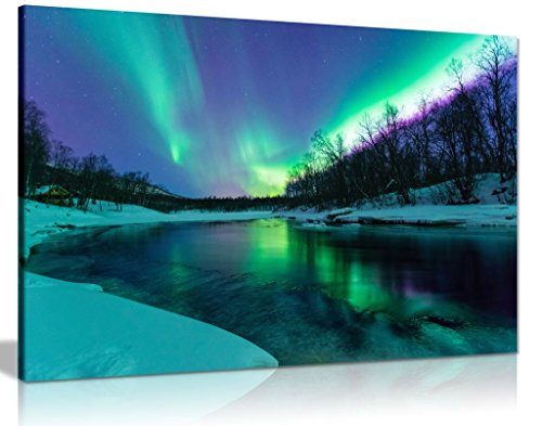 Winter River Northern Lights Aurelia Borealis Canvas Wall Art Picture Print (36x24in)