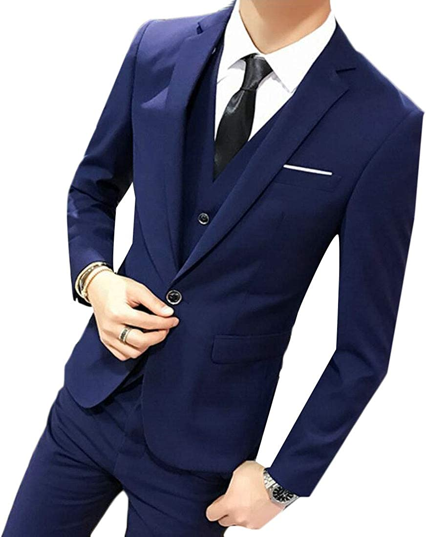 Yayu Mens 3-Piece Suit Slim Fit Solid Color Jacket Smart Wedding Formal Suits