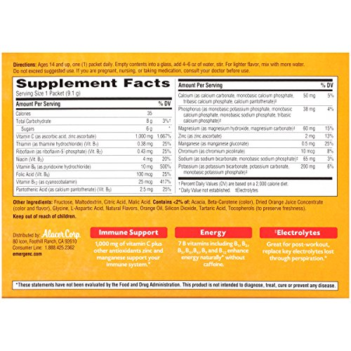 076314306466 - Emergen-C Dietary Supplement Drink Mix with 1000 mg Vitamin C, 0.32 Ounce Packets, Caffeine Free (Super Orange Flavor, 30 Count) carousel main 3