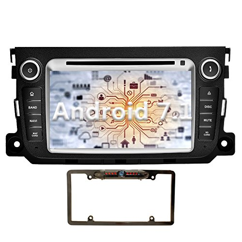 YINUO 7 inch Android 7.1.1 Nougat Quad Core Car Stereo HD Touch Screen Car Radio Receiver DVD GPS Navigation for Mercedes-Benz SMART 2012-2015 support Bluetooth Wifi (Navigation with Camera 3)