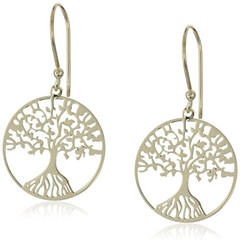 14k Yellow Gold Over Silver Tree of Life Drop Earrings