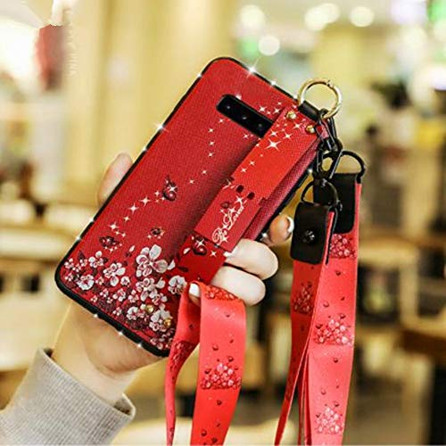 Price comparison product image Galaxy S10 Plus Creative Ring Stand Case, Aulzaju Samsung S10 Plus Bling Beauty Rhinestone Flower TPU Case Soft Slim Shockproof Strap Cover for Samsung Galaxy S10 Plus-Red