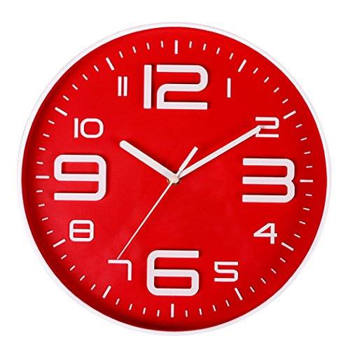 Bien-Zs Non-Ticking Silent Quartz Wall Clock with Big 3D Number Modern Design Quiet Sweep Movement Indoor Decorative for Living Room Kitchen Wall Clocks Battery Operated 10-Inch Red (Wall Red Clocks Kitchen)