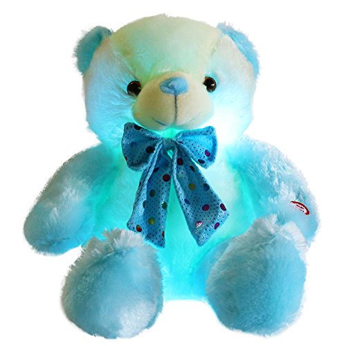 WEWILL LED Teddy Bear Stuffed Animals Glow Plush Toy Sparkle Colorful Nice Gift for Kids on Birthday Christmas, 20-Inch(Blue&White) ()
