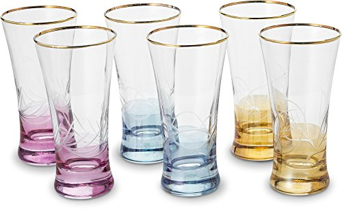 Highball Drinking Glass – Multi Color Design 6.5-Ounce Drinking Glasses - Set of 6