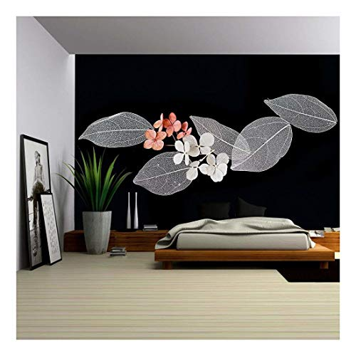 wall26 - Lace Leaves on Black Background - Removable Wall Mural | Self-Adhesive Large Wallpaper - 100x144 inches ()