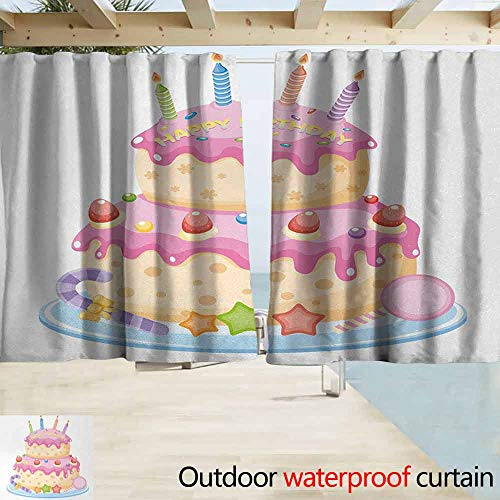 Price comparison product image Wlkecgi Curtains for Bedroom Kids Birthday Pastel Colored Birthday Party Cake with Candles and Candies Celebration Image Front Porch W55 x L39 Light Pink
