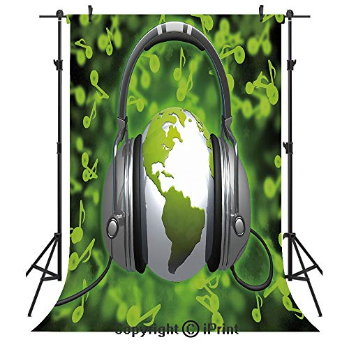 World Photography Backdrops,World of Music Themed Composition DJ Headphones Musical Notes and Earth Globe Decorative,Birthday Party Seamless Photo Studio Booth Background Banner 3x5ft,Lime Green Grey