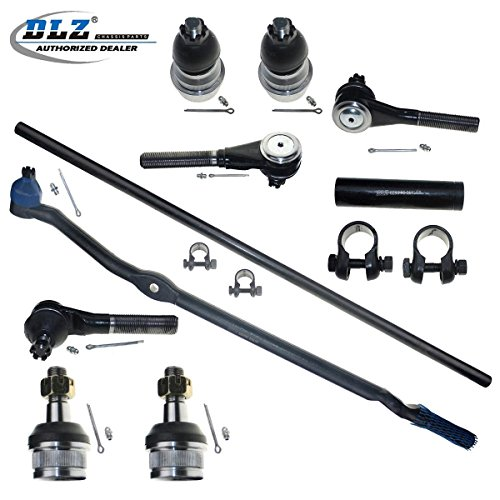 DLZ 10 Pcs Front Suspension Kit-2 Lower 2 Upper Ball Joint, 2 Inner 2 Outer Tie Rod End-4.0L Only+ 2 Adjusting Sleeve for 1997-2006 Jeep Wrangler 4WD, 1997-2006 Jeep TJ 4WD