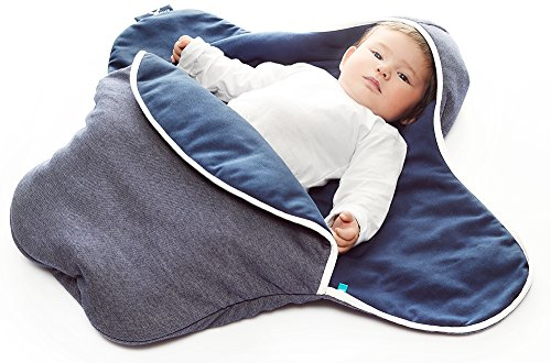 Wallaboo Baby Blanket Coco,Supersoft 100% Pure Cotton, Multi-Use for Pram or Car Seat and Travel, Newborn upto 10 months, Size: 35 x 28 inch, Color:Misty Blue -  Wallaboo BV, BBC.0214.4626