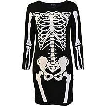 Womens Skeleton Bones Halloween Dress Bodycon Party Fancy Dress