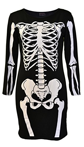 Womens Ladies Halloween Skeleton Skull Bone Red Blood Heart Girls Bodycon Costume Novelty Party Dress Tunic Plus Size 8-10-12-14 16 18 20 (16-18 (UK 20-22), Black) -