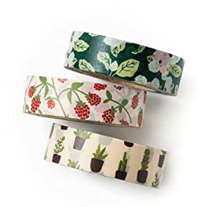Washi tape set - new leaf - value pack - DIY - packaging - decorative tape - apple farm - raspberry - cactus - Love My Tapes