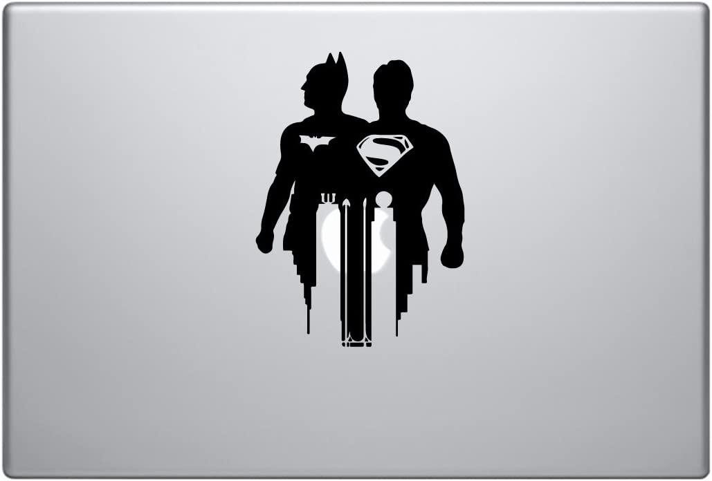 """Batman Superman Side by Side Justice League [4 Pieces] - Laptop Skin Vinyl Decal Sticker for MacBook Pro 13"""" – and Other Apple Laptop – Car and Windows – Size 6 x 6 Inches"""