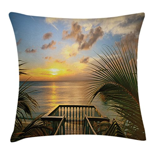 Ocean Throw Pillow Cushion Cover by Ambesonne, Mediterranean Horizon Seascape from Wooden Terrace Balcony Fences Holiday Life Photo, Decorative Square Accent Pillow Case, 28 X 28 Inches, Multicolor (Mediterranean Terrace)