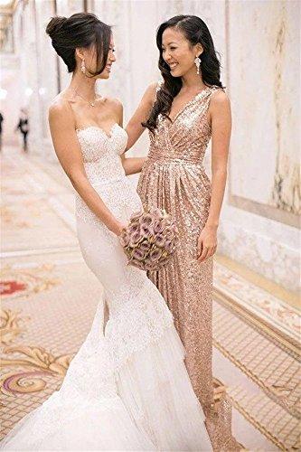 00a75c20d76 LanierWedding Gold Sequins Bridesmaid Dresses Plus Size Prom Dresses 600  Rose Gold Size 24 Plus