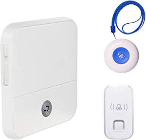 Wireless Caregiver Pager Call Button Personal Alert for Home Attendant Patient Nurses Seniors Disabilities 1 Receiver 2 Waterproof Transmitters