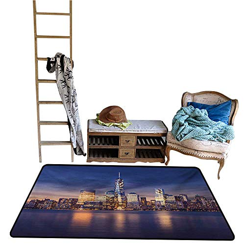(Indoor Floor mat,New York City Manhattan After Sunset View Picture with Skyline Reflection River 55