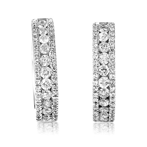 Women's 14K White Gold Diamond Hoop Earrings - White Hoop 14k Diamond Gold